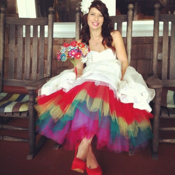 Short Wedding Dress With Colored Tulle Underneath Rainbow Wedding Dress Rainbow Wedding Tulle Wedding Dress