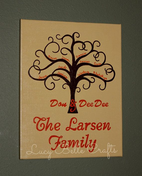 Personalized Family Tree Hand Painted onto 11 x by LucyBelleCrafts