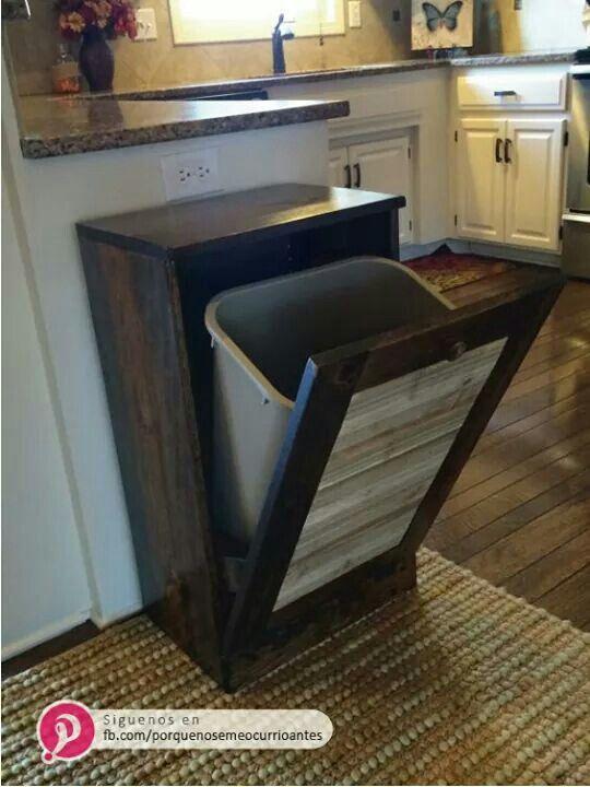Bote de basura oculto food Pinterest Bote, Cocinas y Muebles - muebles para cocina de madera