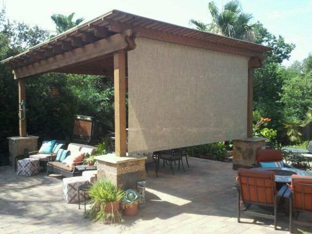 Roll shade pergola patio neat idea in lieu of mosquito for Outdoor roll up privacy screens
