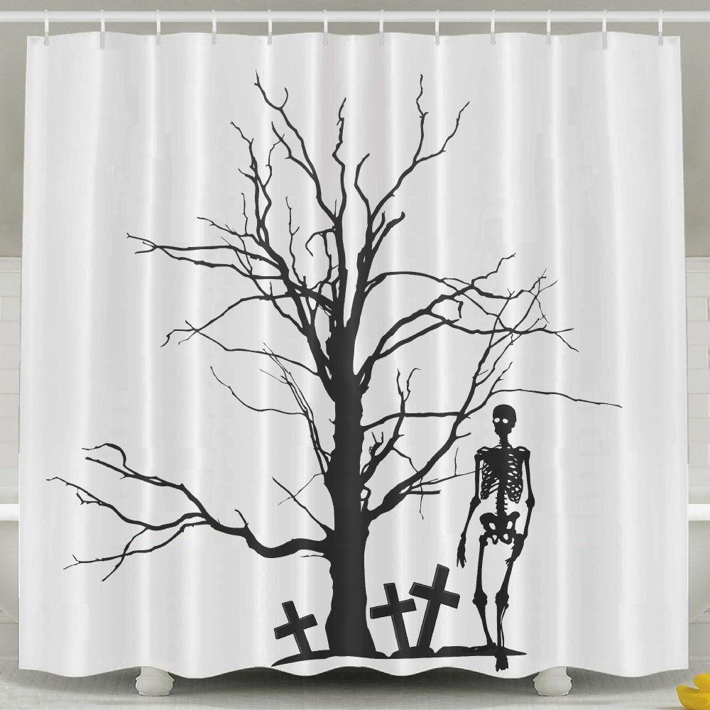 Singlelove Bathroom Decor Halloween Tree And The Skeleton Drawing