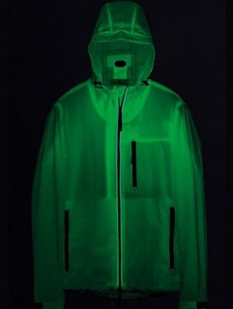 NIGHT GLOW MARINA HOODED JACKET IN WHITE  Part of the Marina capsule collection, this jacket is made from double-layered polyester pique with a lining made from a high-performing waterproof and windproof membrane. A unique piece, it captures and emits light when it is placed in the dark
