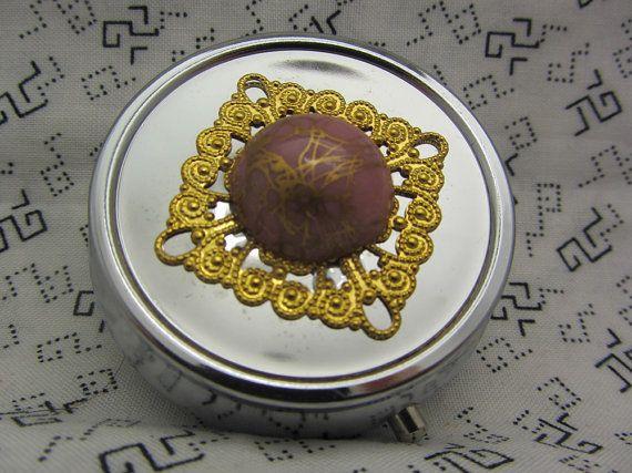Pill Case Box Container Gold Drizzle