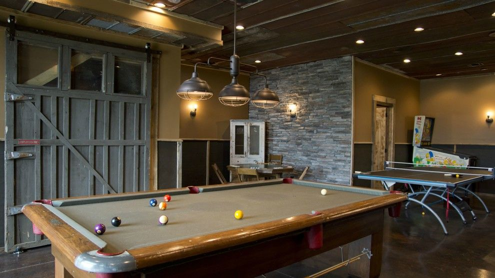 Stone Accent On Spectator Seat Wall Pool Table Lighting Pool