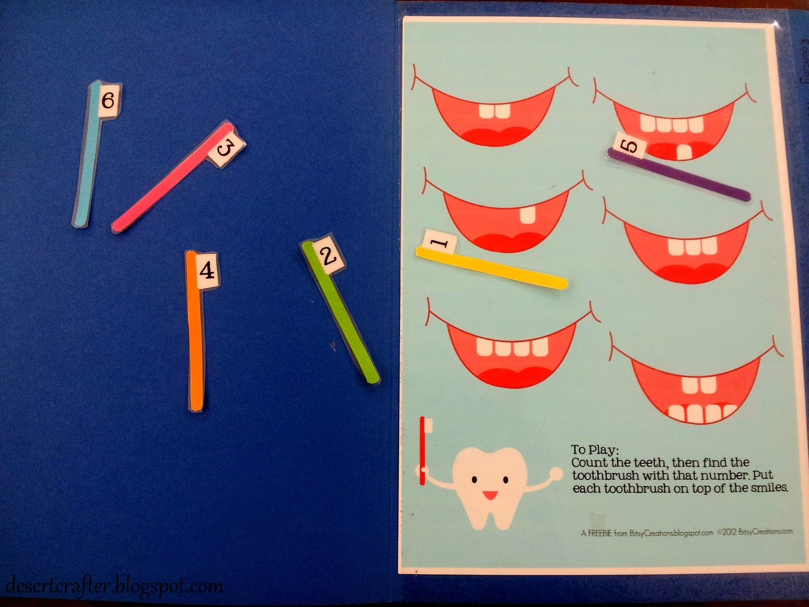 Tooth Counting Brushing File Folder Game