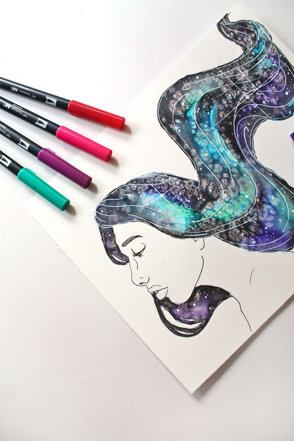 How To Paint Galaxy Hair Using Tombow Dual Brush Pens Galaxy