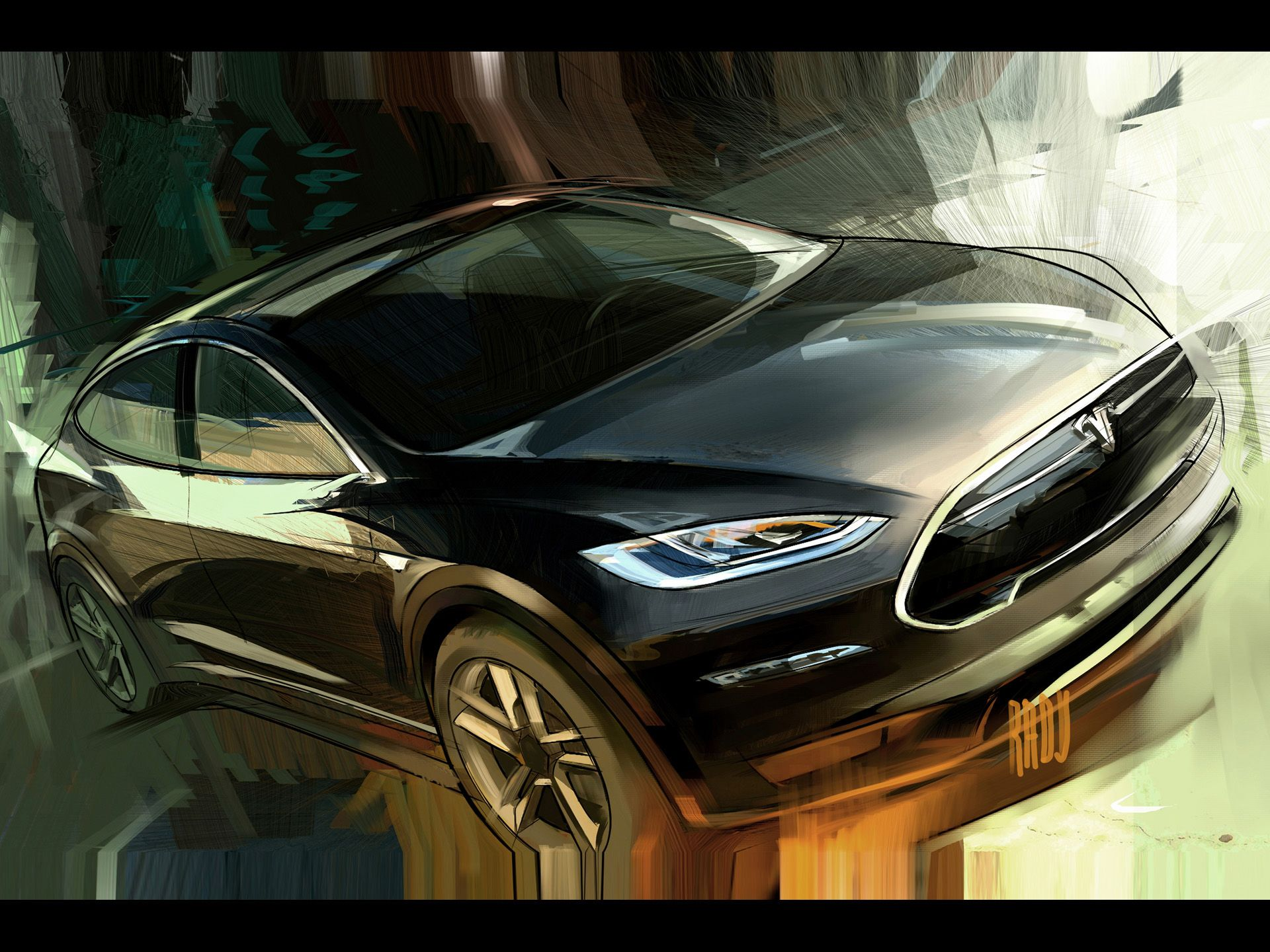 2012 Tesla Model X - Sketch 2 - 1920x1440 - Wallpaper