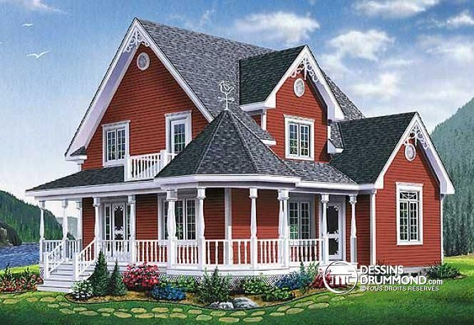 Elevation Of Country Farmhouse Southern Victorian House Plan 65377