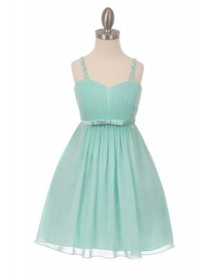d6047493a54 Mint Elegant Chiffon pleated knee high Flower Girls Dresses (Size 4 to 16)