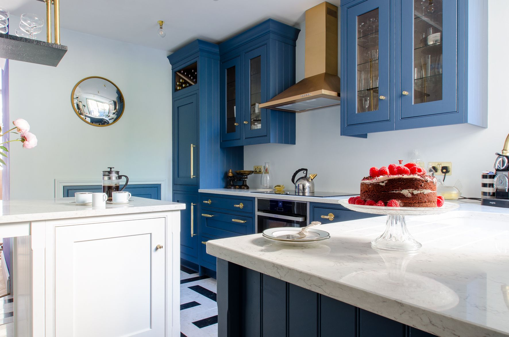Canterbury Town House kitchen painted blue with Buster + punch brass ...