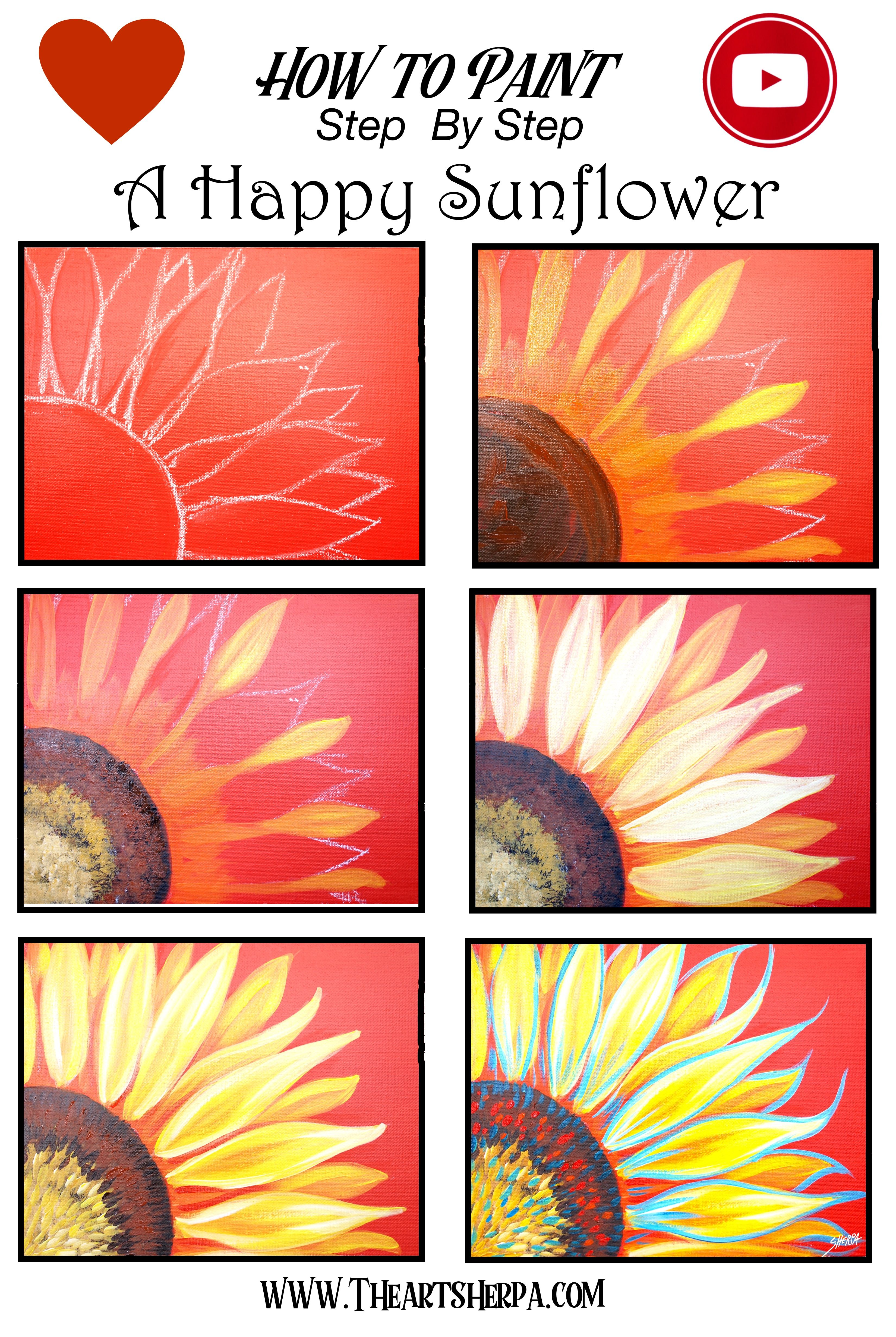 Easy How To Paint A Sunflower Step By Step Canvas Painting