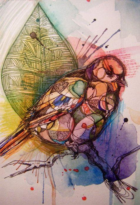 mixed media art medium Birdwatcher