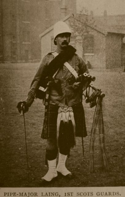Boer War Pipe Major Laing 1st Scots Guards Pipes, Military and