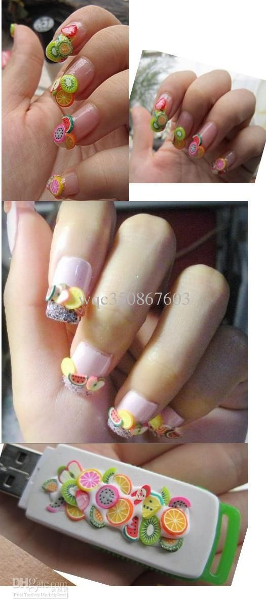 100pcs Nail Art Fimo Canes Rods Decoration Polymer Clay Stickers Cane Fruit