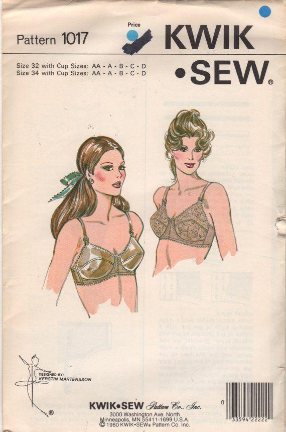 Kwik Sew 1017 1980s Misses Designer Bra Pattern Womens Vintage ...