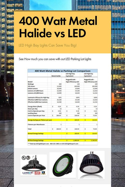 400 Watt Metal Halide Vs Led Led Parking Lot Lights High Bay Led Lighting Led