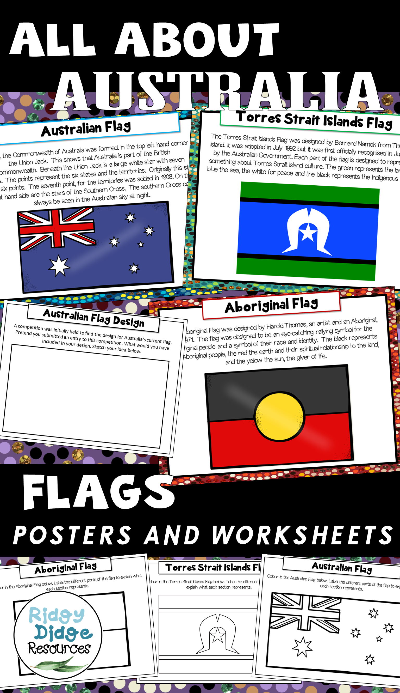 Australian Flags Posters And Worksheets