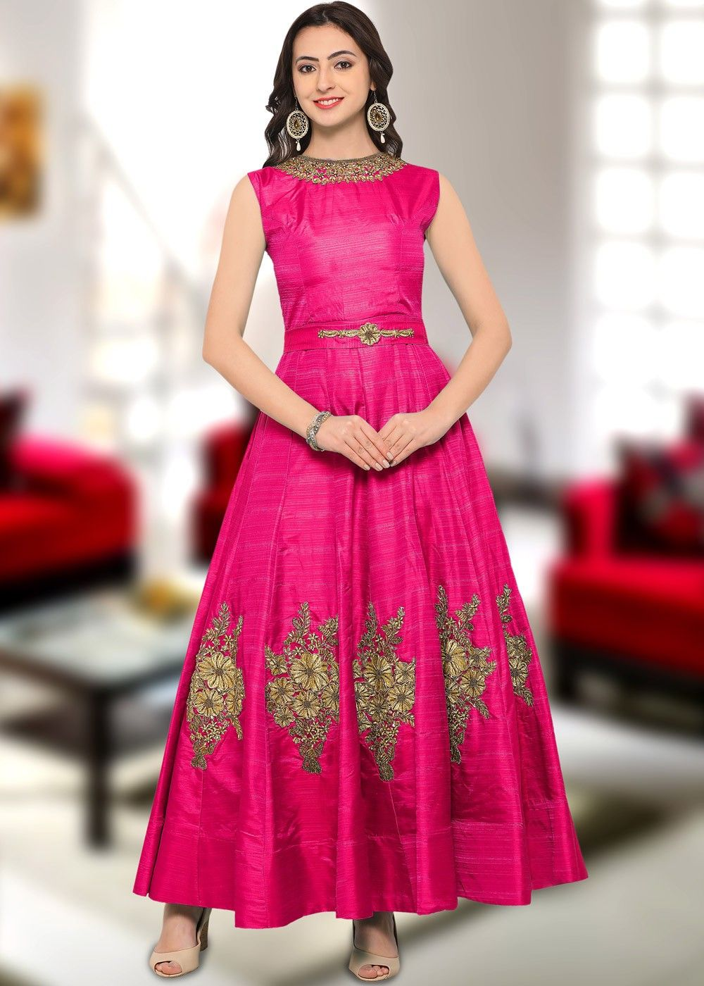 78a22b9647 Readymade  Pink Sleeveless Art  Silk Indian  Gown