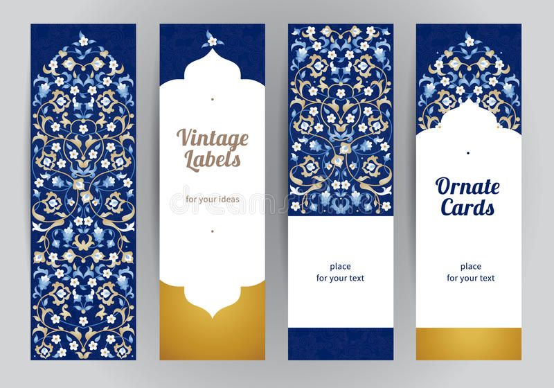 Vector Set Of Ornate Eastern Cards Royalty Free Illustration Greeting Card Template Islamic Design Card Template