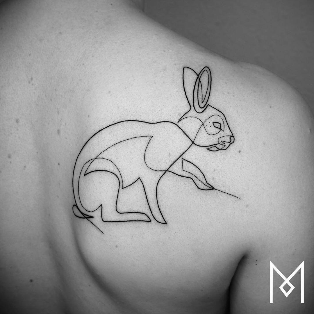 Mo Ganji On Instagram Moganji Singleline Oneline Minimalart Tattooinspiration Rabbit Tattoos One Line Tattoo Line Tattoos