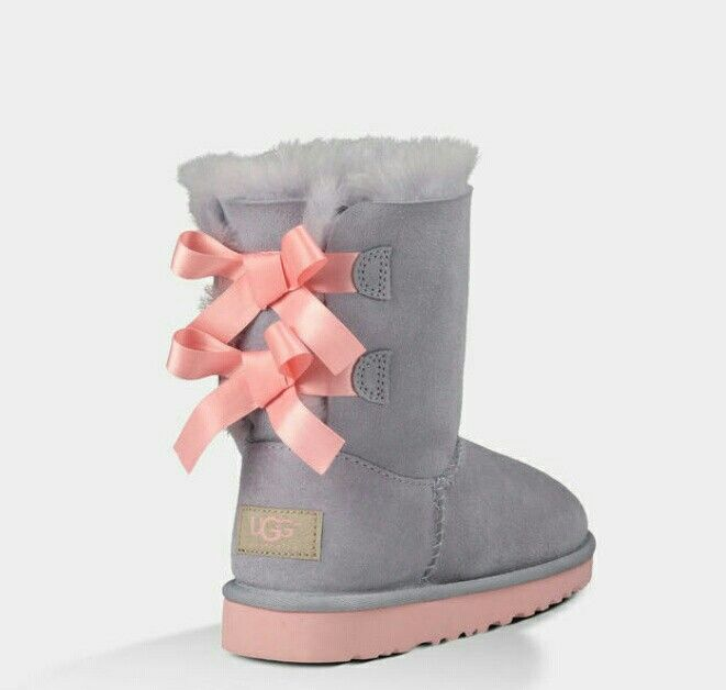 pink and grey uggs with bows