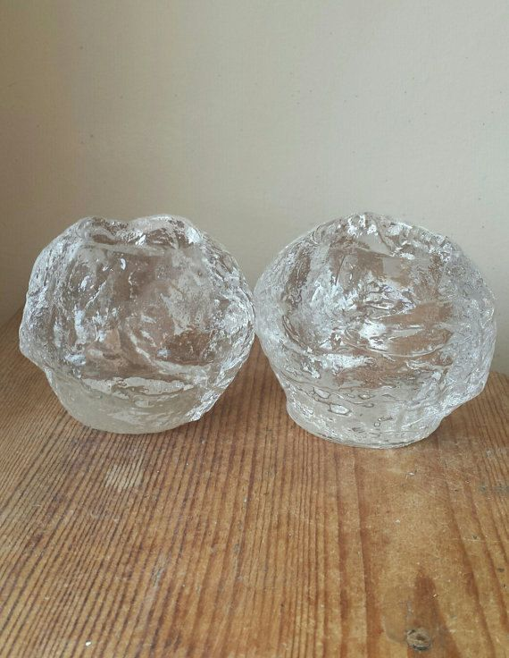 Set Of Two Kosta Boda Glass Snowball Candle Holders Swedish Etsy Swedish Candle Snowball Candles Glass Candleholders