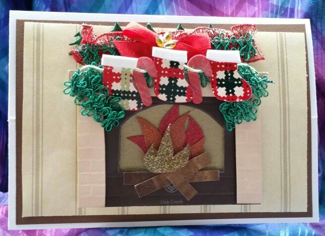 Christmas card, easel card, fire place, 3d, stockings, paint - christmas greetings sample