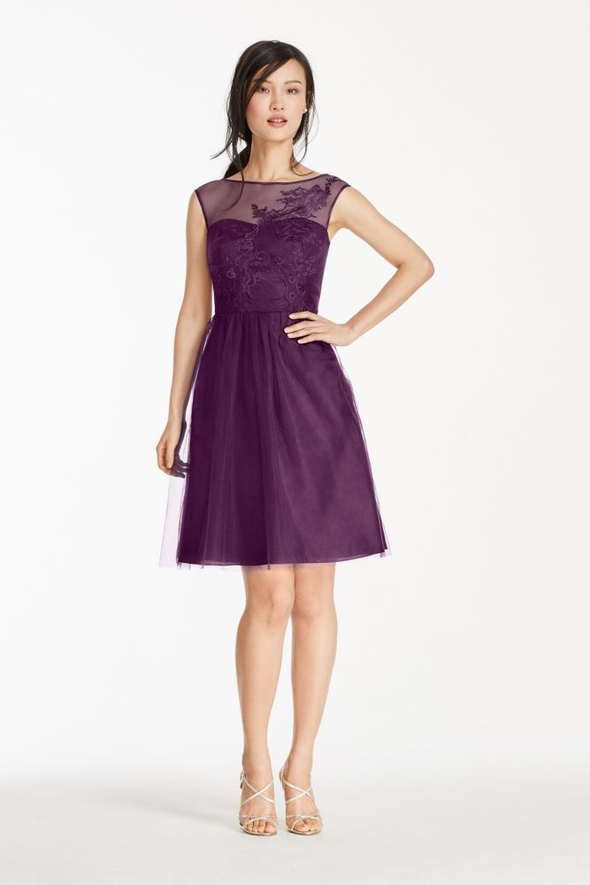 37f85da7c30 Short Tulle Bridesmaid Dress with Illusion Lace Neckline - Plum (Purple)