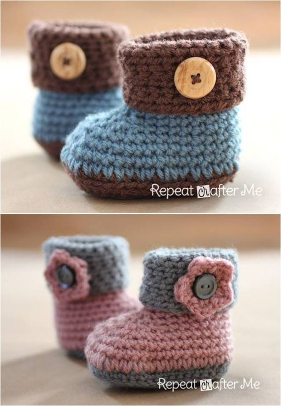 40+ Adorable and FREE Crochet Baby Booties Patterns | Baby-schuhe ...