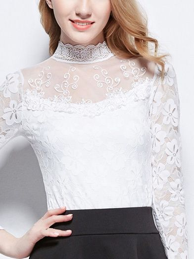 High Neck Lace Slim Blouse