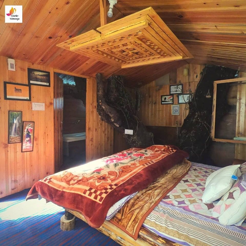 ‪Have you stayed in wooden house? ‬  ‪If yes? Tell us your experience‬  ‪If not , you must!‬  ‪Upcoming trips www.wanderwomaniya.com‬  ‪#kashmir #ladakh #himachal #jibhi #treehouses #treehouselife #treehouseresort #treehousedesign #wanderwomaniya‬