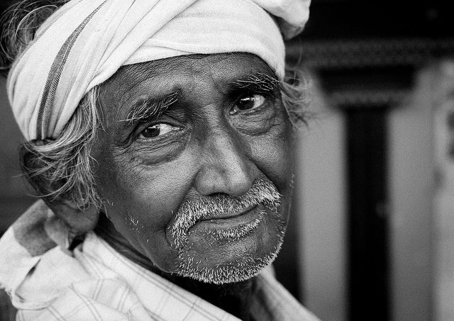 Old Indian Wearing A Turban With A Melancholic Look, Madurai, India Eric Lafforgue