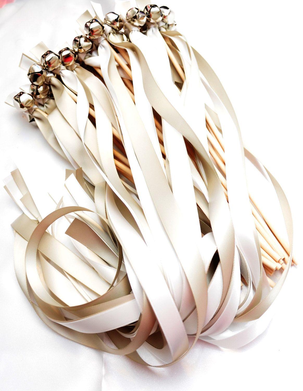 100 Wedding Ribbon Bell Wands ~ Wedding favors ~ Ribbon Bell ...