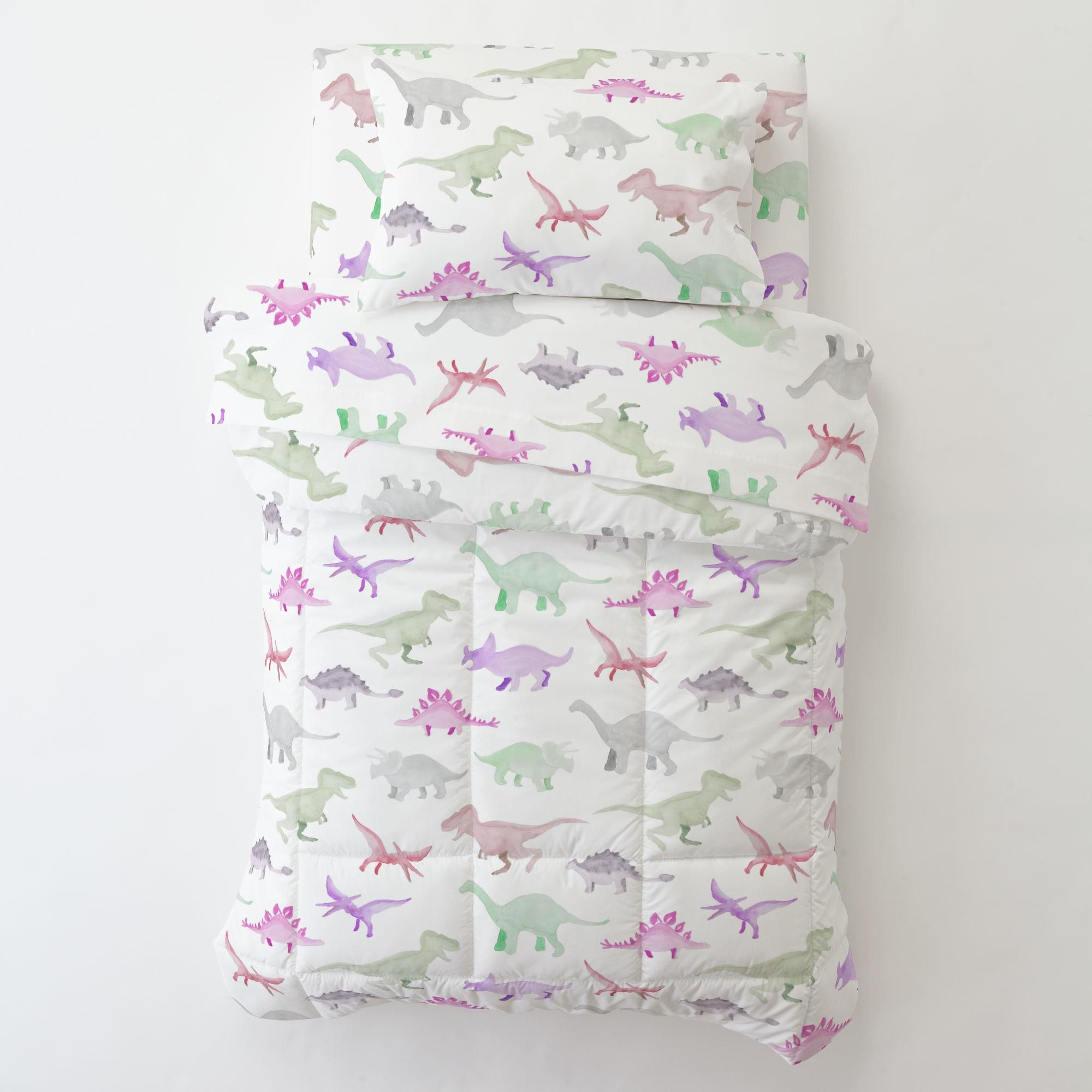 Pink Watercolor Dinosaurs Toddler Bed Sheet Fitted In 2020 Pink Toddler Rooms Toddler Bed Comforter Toddler Bed Sheets