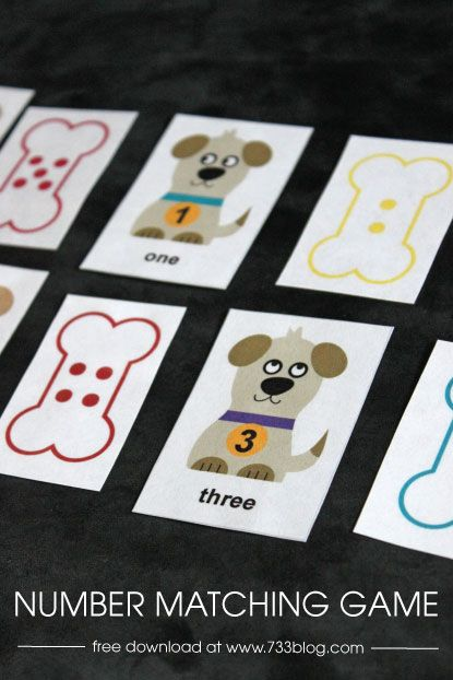 Preschool Number Matching Game   Pets   Pinterest   Matching games     Preschool Number Matching Game