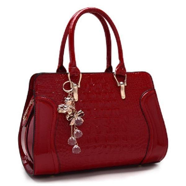 b8172ec3df Women leather handles Handbags Crocodile Pattern Leather Shoulder Bag Brand  Designer Ladies Red Wedding Tote Bags