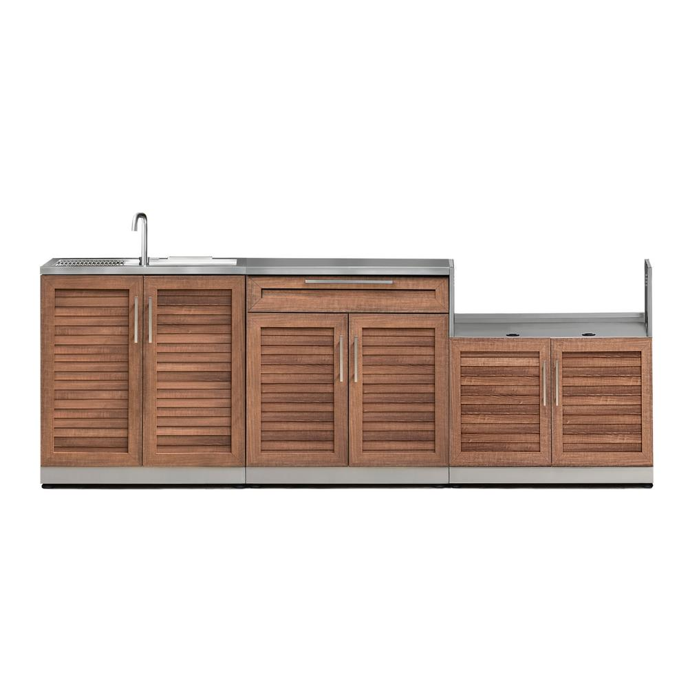 Newage Products Stainless Steel 4 Piece 97 In W X 35 5 In H X 24 In D Outdoor Kitchen Cabinet Set With Countertop Outdoor Kitchen Cabinets Steel Kitchen Cabinets Stainless Steel Kitchen Cabinets