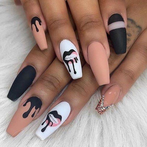 Black Drip Acrylic Nails