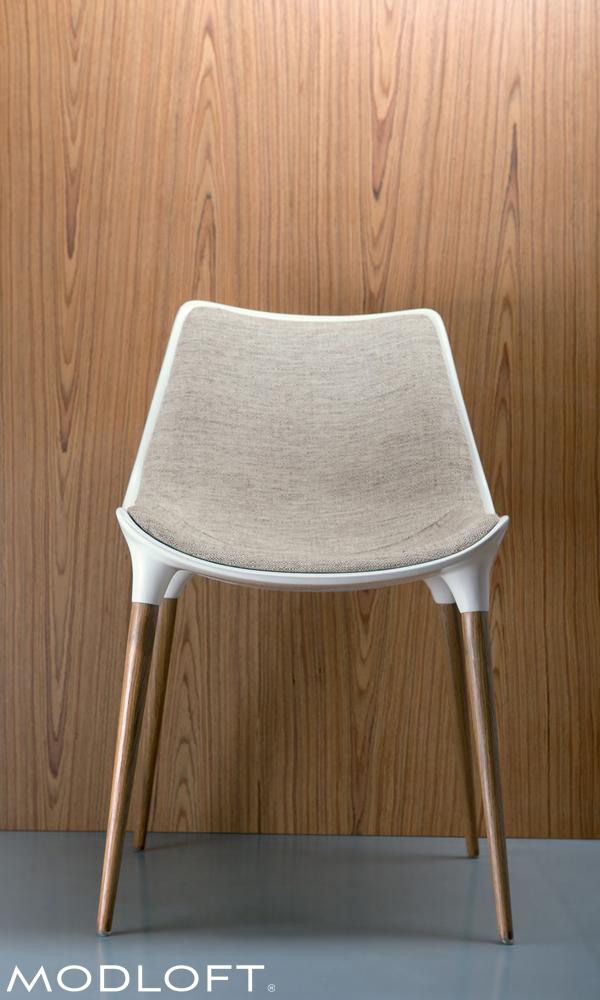 modloft dining chair nuna zaaz high langham in fabric bar the beautiful by is made with steel core legs finished brazilian walnut veneer a bucket seat of fiberglass