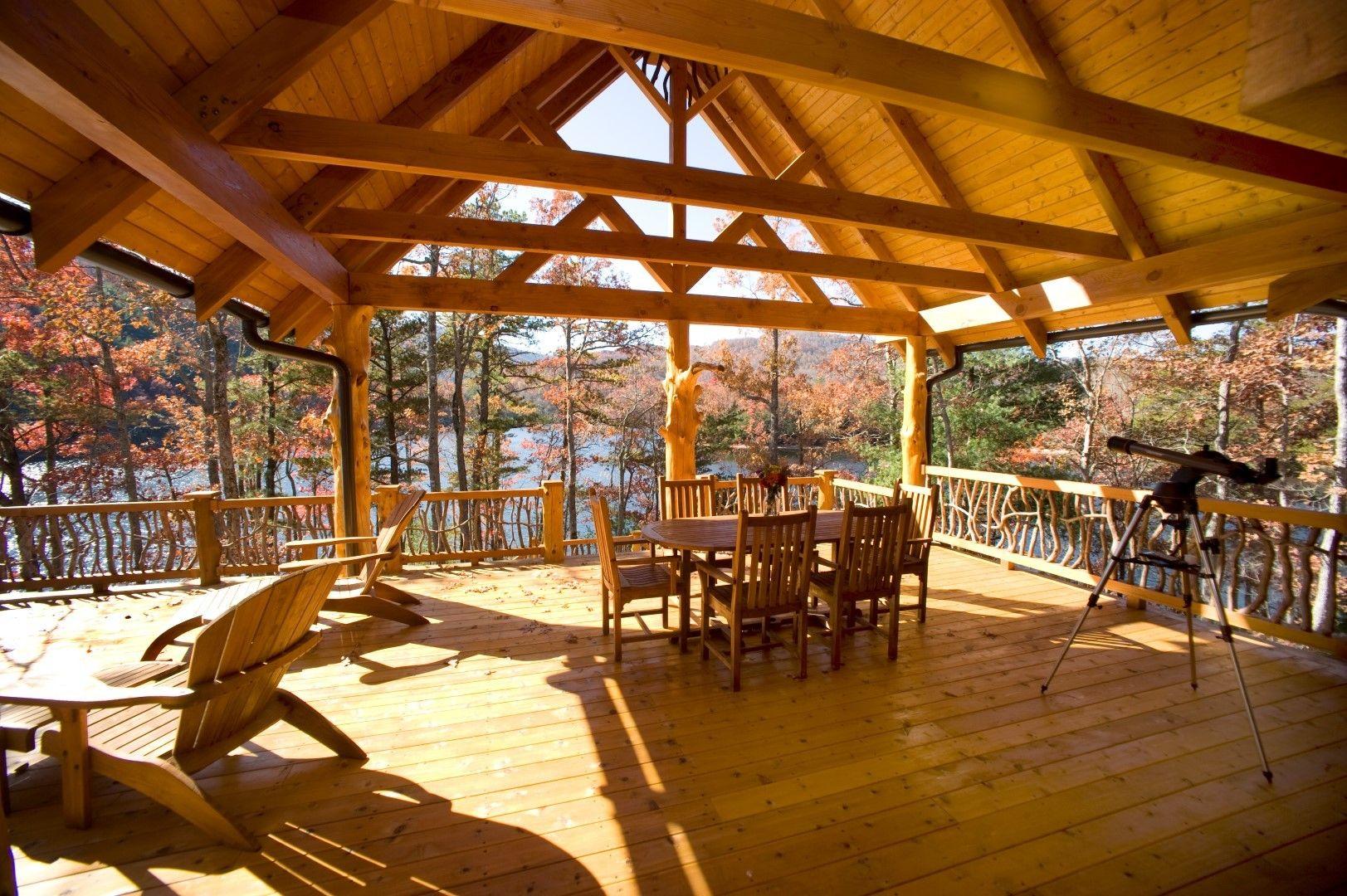 Love this lake house deck house deck log homes lodge