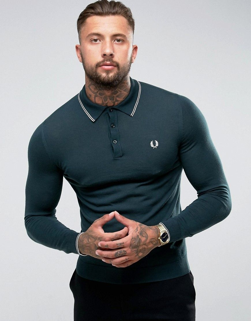 Fred Perry Fine Merino Long Sleeve Polo Shirt In Green Green