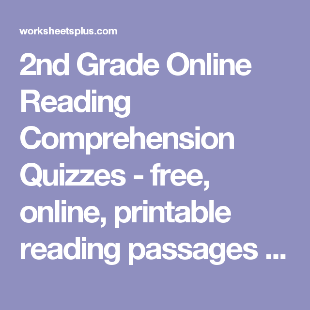 2nd Grade Online Reading Comprehension Quizzes Free Online