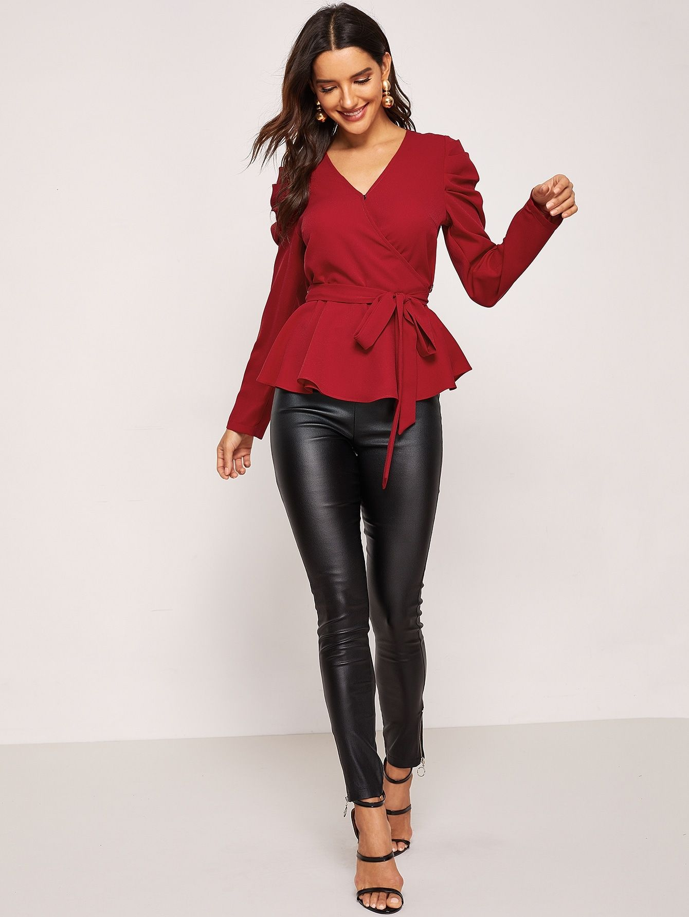 459bd6c668d Casual Belted Plain Shirt Regular Fit V Neck Long Sleeve Puff Sleeve  Pullovers Burgundy Regular Length Surplice Neck Gathered Sleeve Belted Top