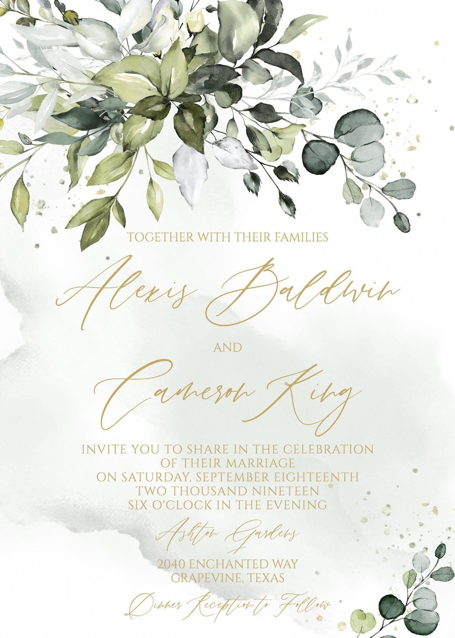 Greenery Wedding Invitation Template Printable Succulent Gold Etsy In 2020 Wedding Invitations Boho Cheap Wedding Invitations Wedding Invitation Templates