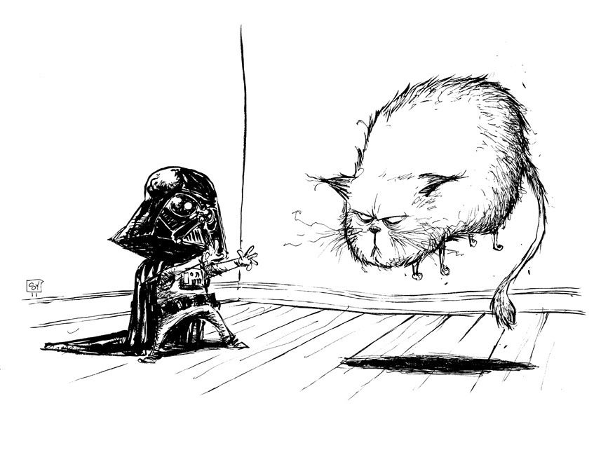 Young Darth playing the family cat...