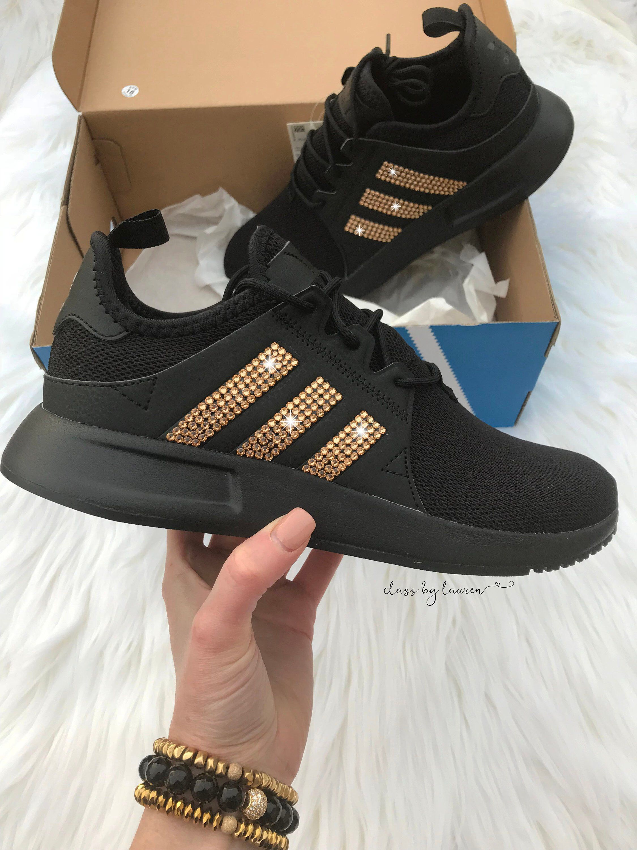 Womens Adidas originals zx flux, Swarovski Adidas shoes, womens Adidas, Gold sneakers, gold adidas, bling adidas, Adidas originals, blinged
