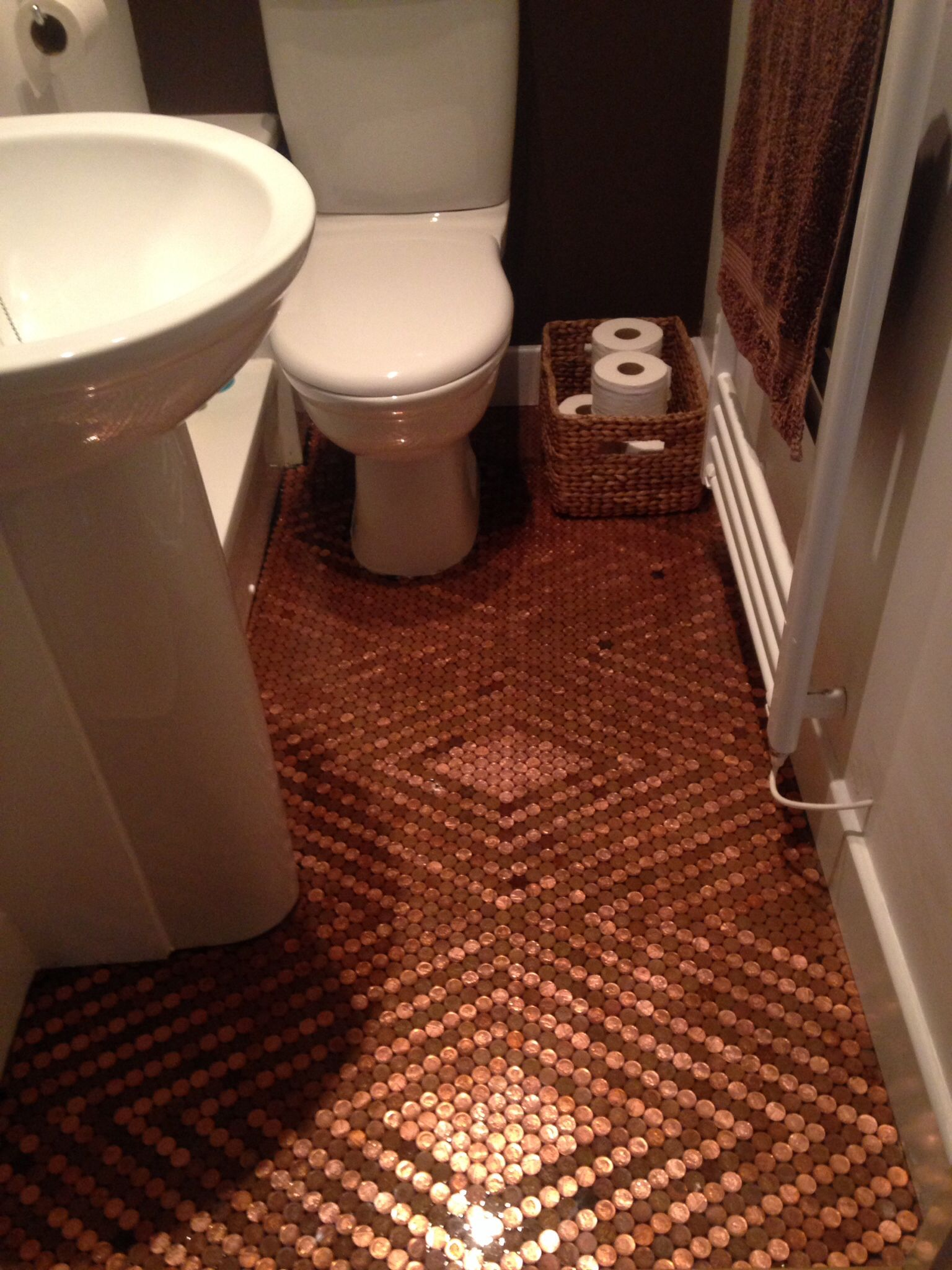 The best diy flooring ideas of pinterest pinterest pennies do the whole damn thing in pennies haha that should add a bit of weight when pulling the bad boy solutioingenieria Images