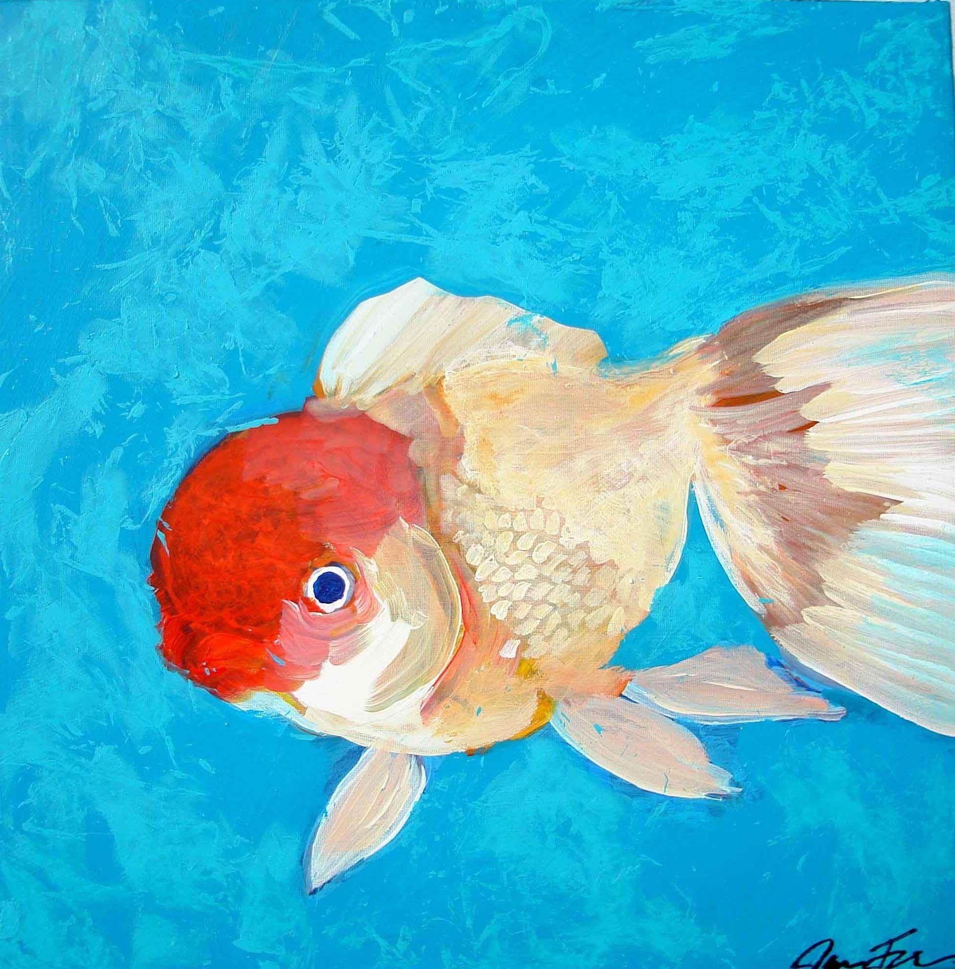 Red Cap Oranda Goldfish By Jara Frisk Oranda Goldfish Goldfish Fish Painting