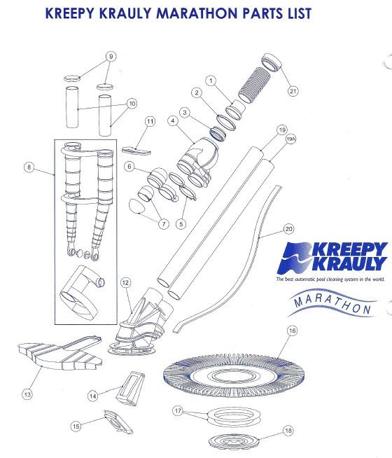 Plumbing Diagram for Pool, Kreepy Krauly Marathon Parts List With