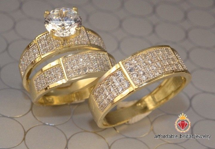 His Hers Matching Trio Set Diamond Wedding Bands Engagement Ring 14k Yellow Gold Engagement Rings Wedding Bands Set Wedding Rings Engagement 14k Engagement Ring